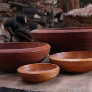 Alder bowls arranged on a bench