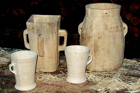 wooden jugs and cups