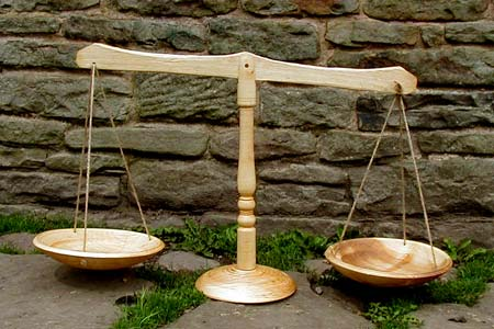 wooden balance scales